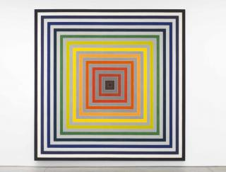 Frank Stella, Lettre sur les sourds et muets II, 1974 Synthetic polymer paint on canvas, 141 x 141 x 4 inches Private Collection, NY © 2017 Frank Stella / Artists Rights Society (ARS), New York, Photo Credit: Christopher Burke