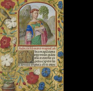 Mary Magdalene with a Book and an Ointment Jar, from the Spinola Hours, about 1510-20, Bruges and Ghent, Workshop of the Master of the First Prayer Book of Maximilian. The J. Paul Getty Museum