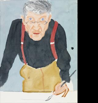 Self Portrait with Red Braces, 2003, David Hockney, watercolor on paper. 24 x 18 1/18 in. Courtesy of a private collection. © David Hockney. Photo credit: Richard Schmidt