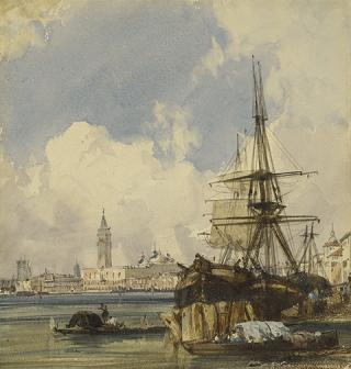 Riva degli Schiavoni, from near San Biagio, Venice, 1826, Richard Parkes Bonington; watercolor over graphite, heightened with opaque watercolor. The J. Paul Getty Museum