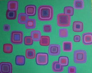 Purple Squares on Green