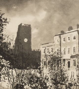 Norman Ackroyd RA,         Thirsk Hall,         2006.                                                        Edition of 90.                                               Etching. 17.5 x 28 cm.                                     Expand                                                          Hugo Bevan,         Alcazaba,         2017.
