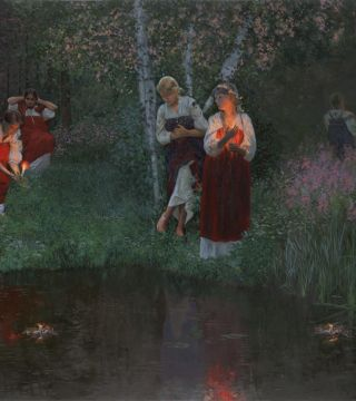 Ivan Kupala. Fortunetelling for wreaths