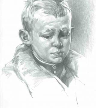 Portrait of a little boy. (Drawing from painting Reshetnikov Low Marks Again).