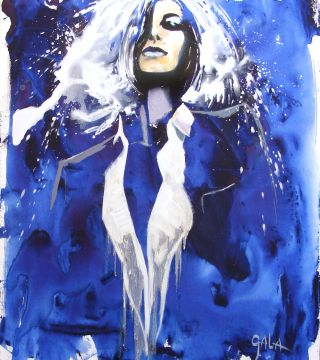 Blue Woman, 27,5x33,4in. (70x85cm), oil, acrylic on canvas