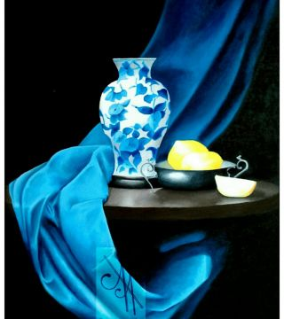 10017-bvase - Oil Painting - Vase On The Table