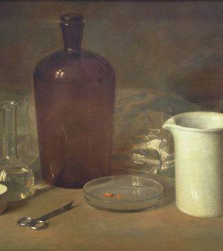 Still life with the chemical glassware