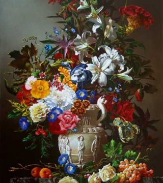 Still-life with flowers in white vase