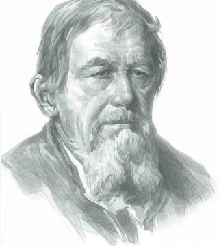 Portrait of an old man (Portrait from the painting of Russian artist Ivan Kramskoy).
