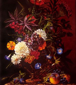 Still-life with dahlias