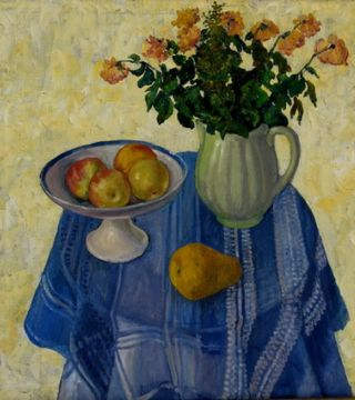 The blue table-cloth. 81x65sm