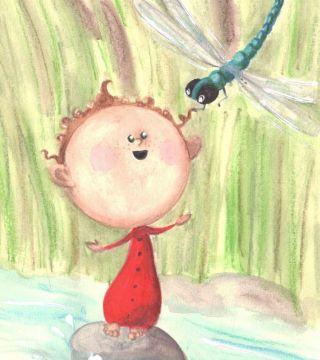 A lil tot and a dragonfly