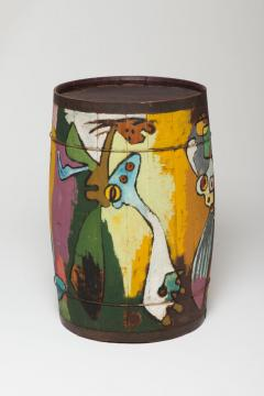 Jorn, Asger Untitled, c. 1941, Oil on wood (barrel) 27 1/2 in x 18 1/2; NSU Art Museum Fort Lauderdale; the Golda and Meyer Marks Cobra Collection, M‑227