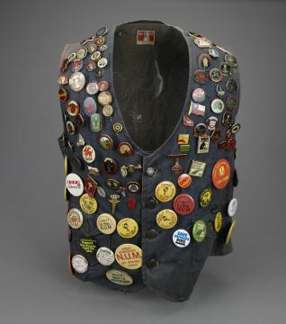 Gillian Smith's Waistcoat with Miner's Strike Badges, 1980s.