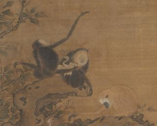 Gibbons Raiding an Egret's Nest (detail)