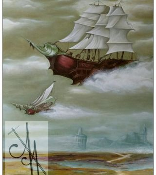 10021-spwch - Oil Painting - Steampunk Airships