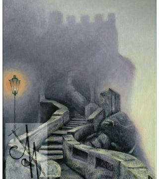 10024-vcstl - Oil Painting - Violet Castle