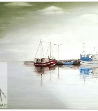 10016-shpsp - Oil Painting - Ships In A Bay