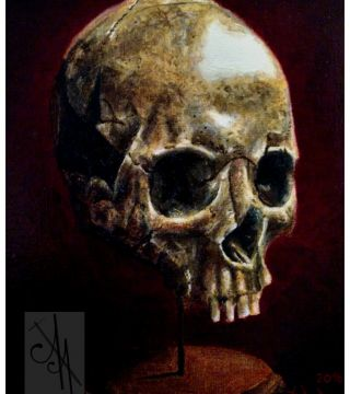 10037-skl01 - Oil Painting - Skull on a stand, 1